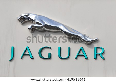 MAINZ,GERMANY-MAY 12:JAGUAR logo on May 12, 2016 in Mainz,Germany.Jaguar Cars is a brand of Jaguar Land Rover, a British multinational car manufacturer. - stock photo