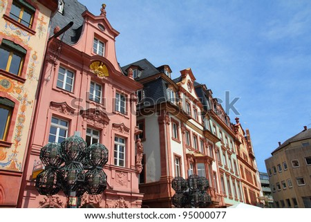 Mainz - town in Rhineland-Palatinate region of Germany. Old decorative houses at the main city square.