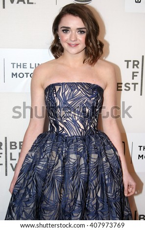 Maisie Williams arrives at the World Premiere of The Devil and The Deep Blue Sea held at the BMCC Tribeca Performing Arts Center during the 2016 Tribeca Film Festival on April14th, 2016 in NYC - stock photo