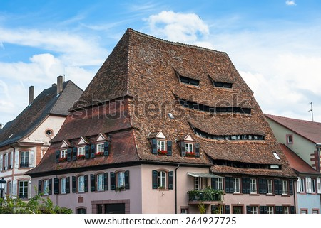 Maison du Sel - The Salt Storage in historical center of the Wissembourg, Alsace, France - stock photo