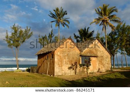 Maison sous les cocotiers au bord de la plage à Ambilo - stock photo