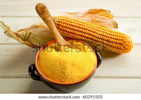 maize  flour - stock photo