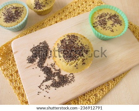 Maize flour bread muffins with chia seeds  - stock photo