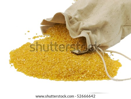 Maize flour in the bag - gluten free, isolated - stock photo