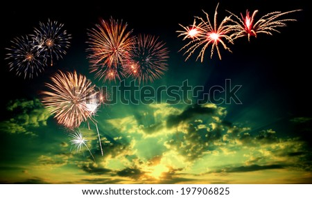 Majestic fireworks in evening sky - stock photo
