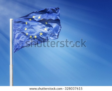 Majestic flag of European union lighted by sunlight - stock photo