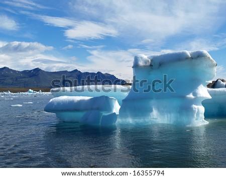 Majestic iceberg in Jokulsarlon, Southeast of Iceland - stock photo