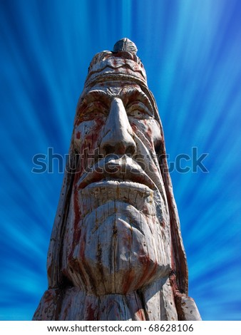 Majestic Indian Head totem pole