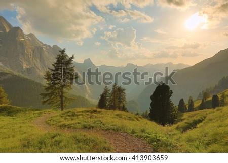 Majestic landscape in the Dolomites - stock photo