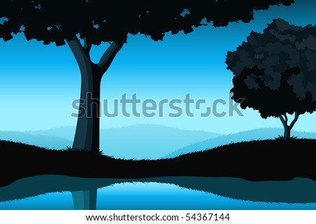 Majestic landscape with tree and lake in blue color