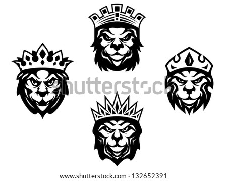 Majestic lions with crowns for heraldry design. Vector version also available in gallery