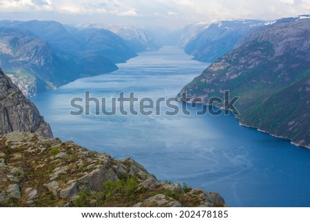 Majestic Lysefjord, view from Prekestolen. Norway - stock photo