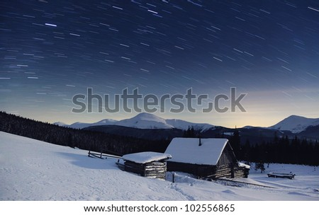 Majestic Milky Way in the winter mountains landscape - stock photo