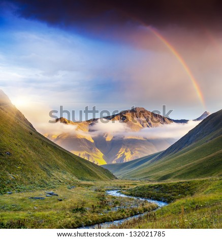 Majestic mist landscapes with high mountains of Georgia, Europe. Dramatic sky. Caucasus mountains. Beauty world. - stock photo