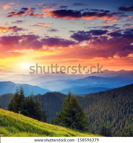 Majestic morning mountain landscape with colorful cloud. Dramatic overcast sky. Carpathian, Ukraine, Europe. Beauty world. - stock photo