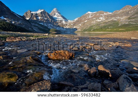 Majestic Mount Assiniboine and Lake Magog in the Canadian Rockies