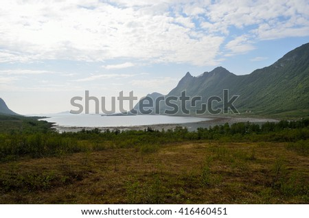 majestic mountain and sea landscape in northern norway - stock photo