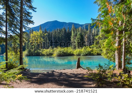Majestic mountain Cheakamus turquoise water lake in Canada  - stock photo