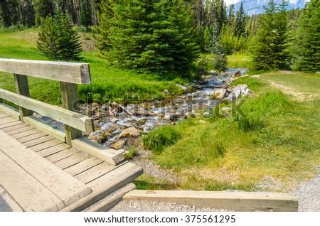 Majestic mountain creek in Canada. - stock photo