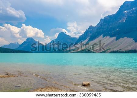 Majestic mountain lake in Canada. Bow Lake view in Jasper, Alberta, Canada. Rocky Mountains. - stock photo