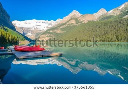 Majestic mountain lake in Canada. Lake Louise, Banff, Alberta. - stock photo