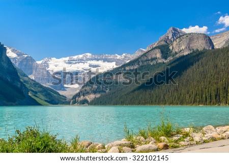 Majestic mountain lake in Canada. Lake Louise in Alberta, Canada. - stock photo