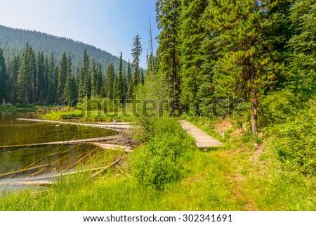 Majestic mountain lake in Canada. Lightning Lake in Manning Park in British Columbia. Lake Trail View. - stock photo