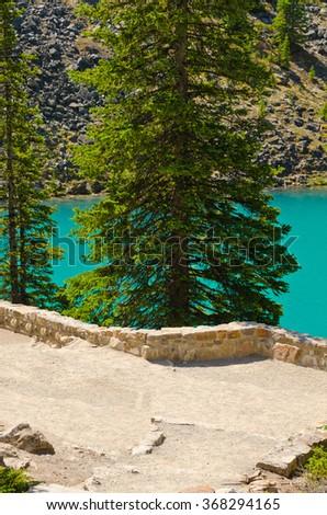 Majestic mountain lake in Canada. Moraine Lake in Alberta, Canada. - stock photo