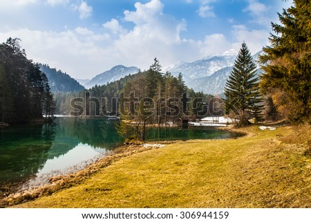 Majestic mountain lake in Fernsteinsee in Austrian Alps
