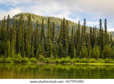 Majestic mountain lake in Manning Park, British Columbia, Canada. - stock photo