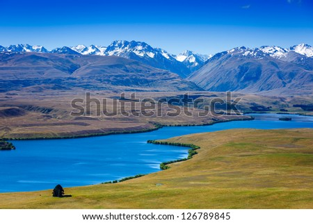 Majestic mountain lake in New Zealand - stock photo