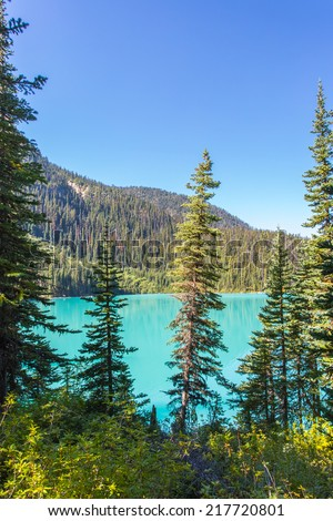 Majestic mountain lake with turquoise water in Canada