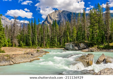 Majestic mountain river in Canada. - stock photo