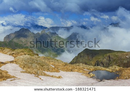 majestic mountain scene - stock photo