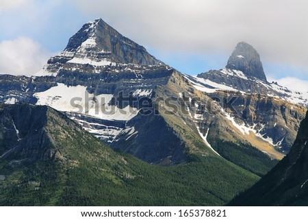 Majestic mountains view at columbia icefield area, jasper national park, alberta, canada - stock photo