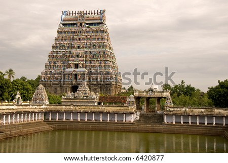 Majestic north entrance tower of the chidambaram temple (circa 12th century AD)