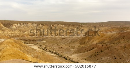 Majestic panorama of mountains in Negev desert in Israel at sunset