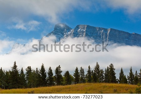 Majestic snowcapped mountains in the Canadian Rockies, Banff National Park, Alberta, Canada - stock photo