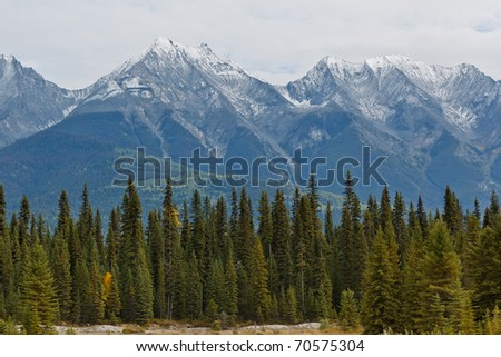 Majestic snowcapped mountains in the Canadian Rockies, Kootenay National Park, British Columbia, Canada - stock photo