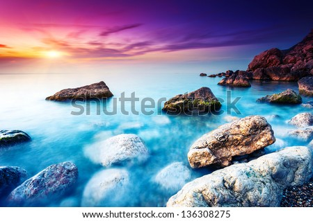 Majestic summer sunset over the sea. Dramatic sky. Crimea, Ukraine, Europe. Beauty world. - stock photo