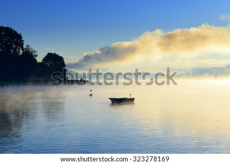 majestic sunrise above lake Worth  (Worthersee). Austria.