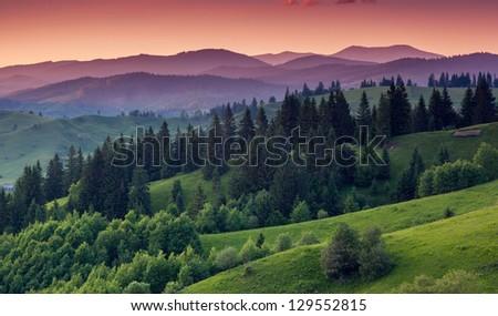 Majestic sunrise in the mountains landscape.Carpathian, Ukraine. - stock photo