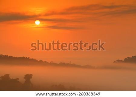 Majestic sunrise over the mountains - stock photo