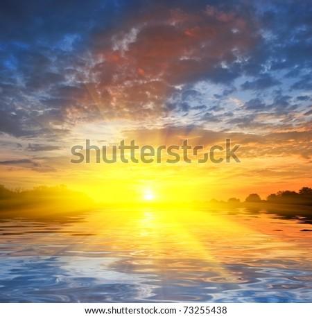 majestic sunset - stock photo