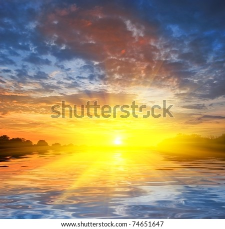 majestic sunset - stock photo