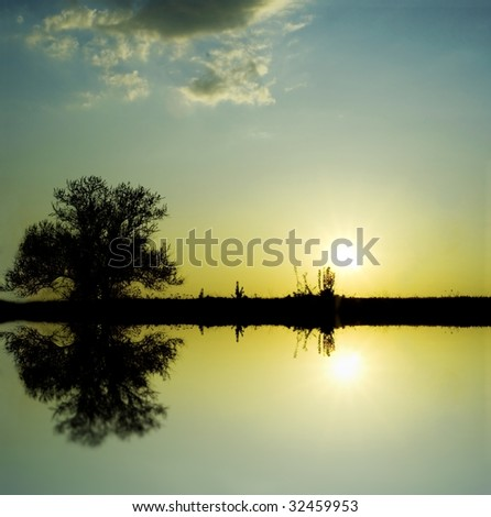 majestic sunset in a lake