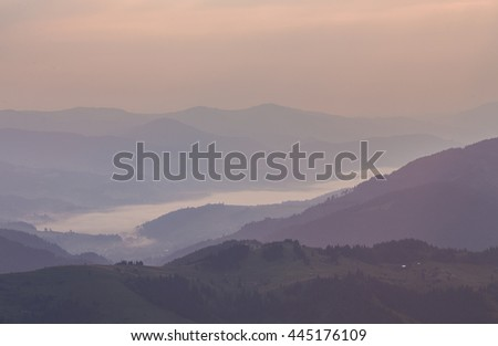 Majestic sunset in the mountains landscape. Carpathian , Ukraine.
