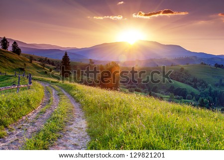 Majestic sunset in the mountains landscape. Carpathian, Ukraine, Europe. - stock photo