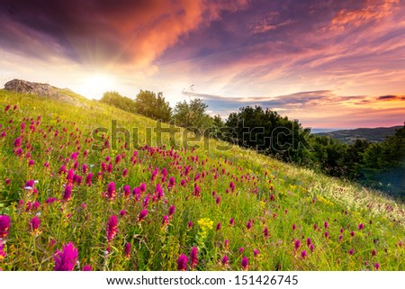 Majestic sunset in the mountains landscape. Dramatic overcast sky. Crimea, Ukraine, Europe. Beauty world. - stock photo