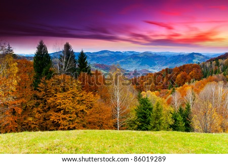 Majestic sunset in the mountains landscape. Dramatic sky. - stock photo